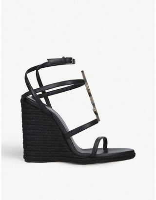 Saint Laurent Cassandra 105 leather wedge sandals