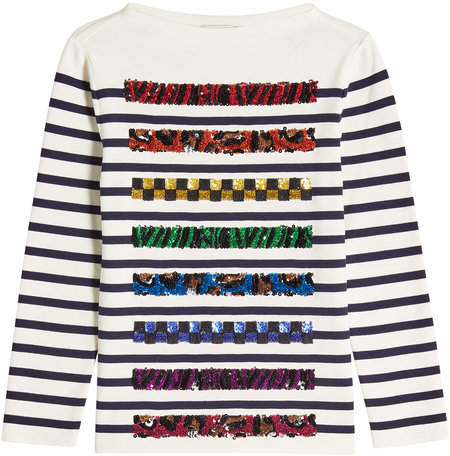 Marc Jacobs Striped Cotton Top with Sequins