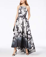 Betsy & Adam Printed High-Low Halter Gown