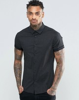 Asos Skinny Shirt In Black With Polka Dot Print And Short Sleeves