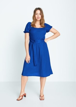 MANGO Belt midi dress