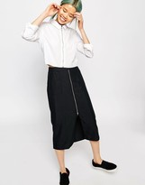 Monki Midi Skirt With Pocket Detail And Front Zip