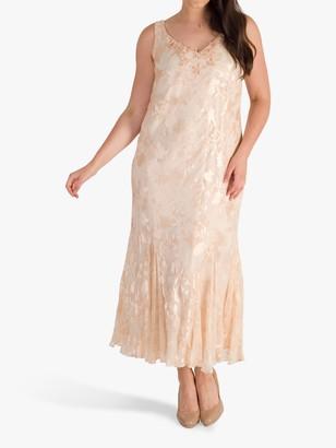 Chesca Beaded Applique Trim Printed Devoree Dress, Blush