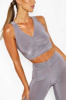 boohoo Ruched Front Sports Bra