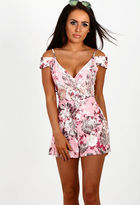 Pink Boutique Tiki Tiki Pink Floral Cold Shoulder Wrap Playsuit