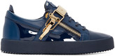 Giuseppe Zanotti Navy Patent Leather London Sneakers