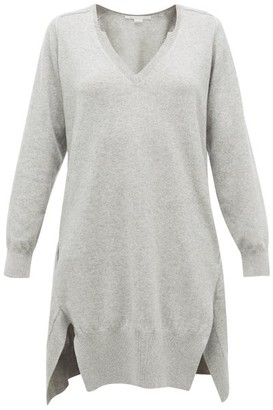 Stella McCartney V-neck Side-slit Cashmere-blend Sweater Dress - Womens - Light Grey