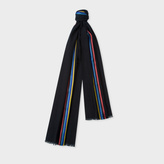 Paul Smith Men's Black Herringbone Wool Scarf With Central Silk Stripe