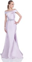 Terani Couture Radiant Off-shoulder Dress with Sweep Train 1611M0620