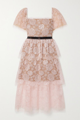 Self-Portrait Crochet-trimmed Sequin-embellished Corded Lace Midi Dress - Blush