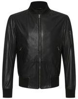 Hugo Boss Mirek Lambskin Leather Bomber Jacket 40R Black