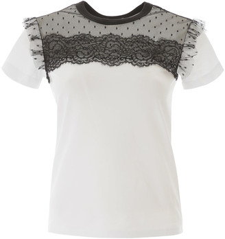 RED Valentino T-shirt With Plumetis And Lace