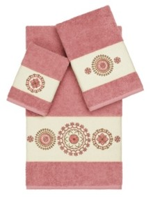 Linum Home Isabelle 3-Pc. Embroidered Turkish Cotton Towel Set Bedding