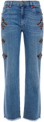 Etro Studded Faded High-rise Straight-leg Jeans