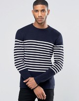 Jack Wills Jumper In Breton Stripe Navy
