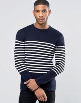 Jack Wills Sweater In Breton Stripe Navy