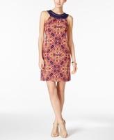 Jessica Howard Petite Crochet-Trim Printed Dress