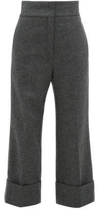 Lemaire High Rise Wool Blend Trousers - Womens - Dark Grey