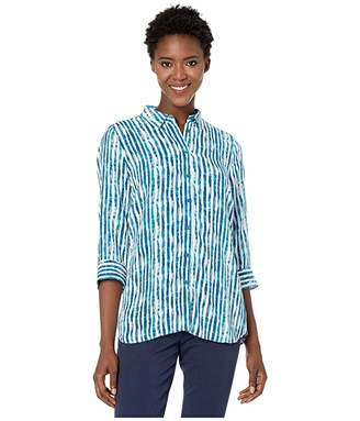 FDJ French Dressing Jeans Printed Blousing Hazy Stripe Tab Up Sleeve Blouse