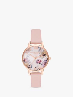 Olivia Burton OB16EG115 Women's Sunlight Florals Leather Strap Watch, Blush/Multi