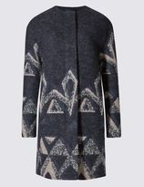 Marks and Spencer Wool Blend Cut & Sew Printed Overcoat