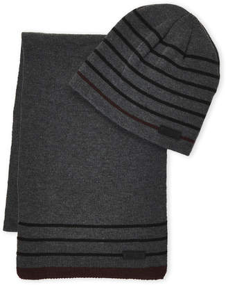 Kenneth Cole Reaction Two-Piece Striped Beanie & Scarf Set