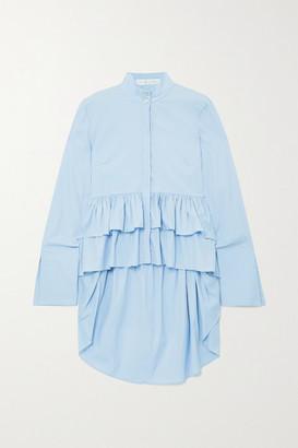Caroline Constas Tatiana Asymmetric Ruffled Cotton-blend Shirt - Light blue