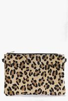 Boohoo Heidi Faux Leopard Pony Clutch Bag
