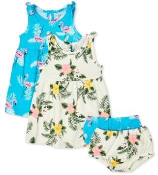 Wonder Nation Baby Girls Floral Dress & Diaper Cover, 2-Pack