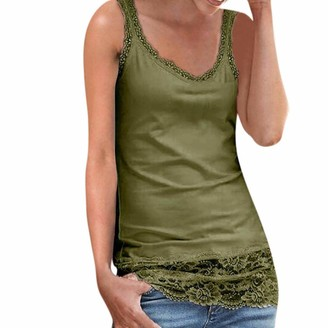 DEELIN Women's Tops Fashion Sexy Sleeveless Solid Lace Patchwork Tank Tops Summer Beach Slim Blouse V Neck Cami Tops for Women Plus Size S-XXL(Green XL)