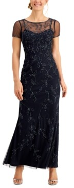 Adrianna Papell Papell Studio by Short-Sleeve Beaded Gown