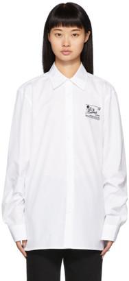 Raf Simons White Embroidered Slim-Fit Shirt