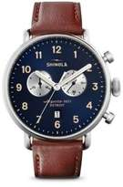 Shinola Canfield Chronograph Sunray Dial Leather Strap Watch