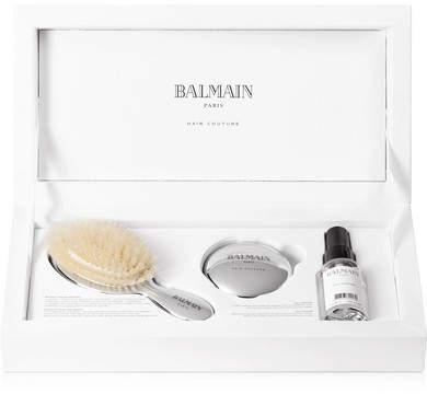 Couture Balmain Paris Hair Mini Silver-tone Spa Brush Set