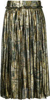 Maison Margiela accordion pleat metallic skirt - women - Silk/Polyester/Spandex/Elastane - 40