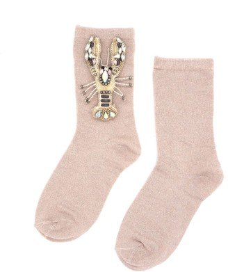 Laines London Pink Glitter Socks With Crystal Lobster Brooch