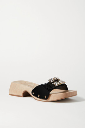 Roger Vivier Viv Crystal-embellished Patent-leather Mules - Black