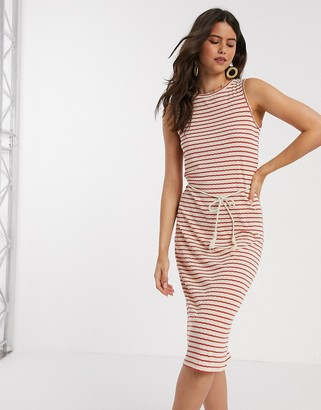Vero Moda midi dress with rope belt in red and white stripe