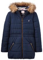 Joules Little Joule Girls' Fleece Lined Coat, French Navy