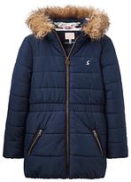 Joules Little Joule Girls' Fleece Lined Waterproof Coat, French Navy