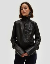 J.W.Anderson Leather Gathered Collar Top