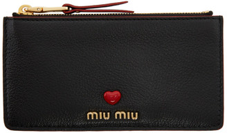 Miu Miu Black and Red Leather Love Zipper Wallet