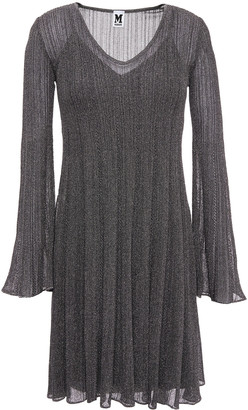 M Missoni Flared Ribbed Metallic Crochet-knit Mini Dress