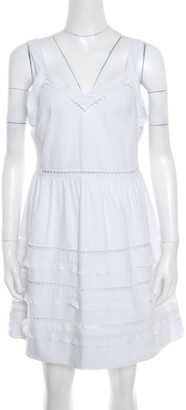 RED Valentino White Ladder Lace Insert Sleeveless Mini Dress M