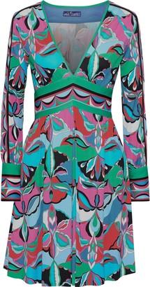 Emilio Pucci Pleated Printed Jersey Mini Dress
