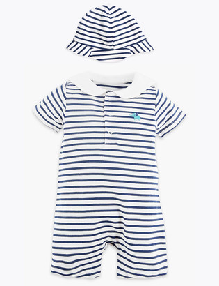 Marks and Spencer 2 Piece Cotton Sailor Romper Outfit (7 lbs - 12 Mths)