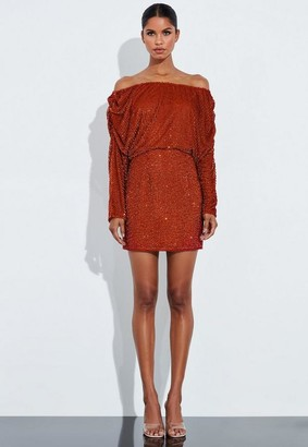 Missguided Copper Sequin Bardot Ruched Mini Dress