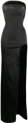 Ann Demeulemeester High-Split Strapless Satin Maxi Dress