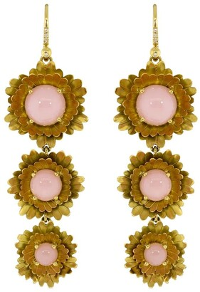 Irene Neuwirth 18kt yellow gold Super Bloom triple flower drop earrings