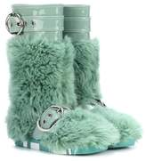 Miu Miu Faux-fur and patent leather boots